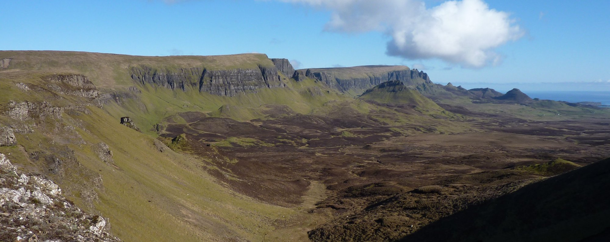 Retrospective view along the Trotternish Ridge from Beinn Edra