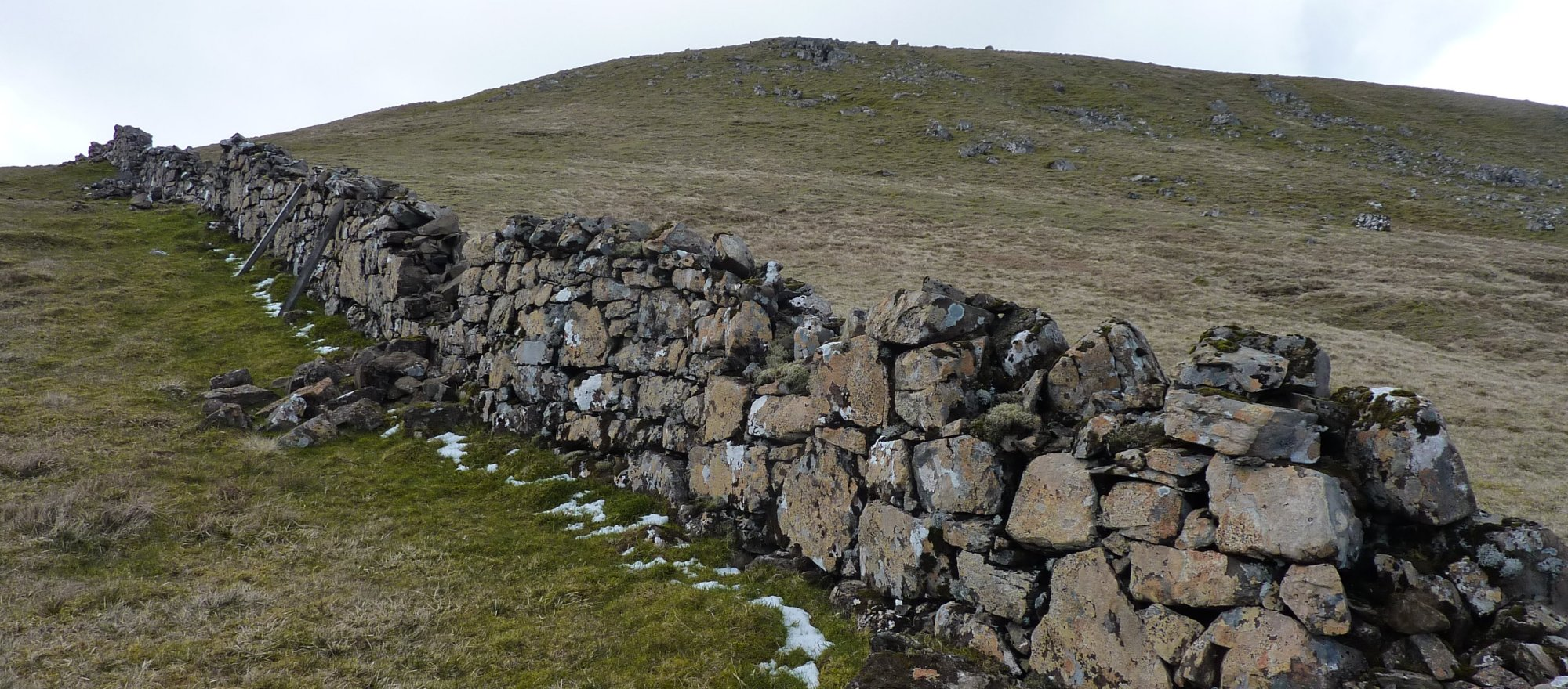 The first wall of the walk, in Bealach na Leacaich, with Creag a'Lain behind