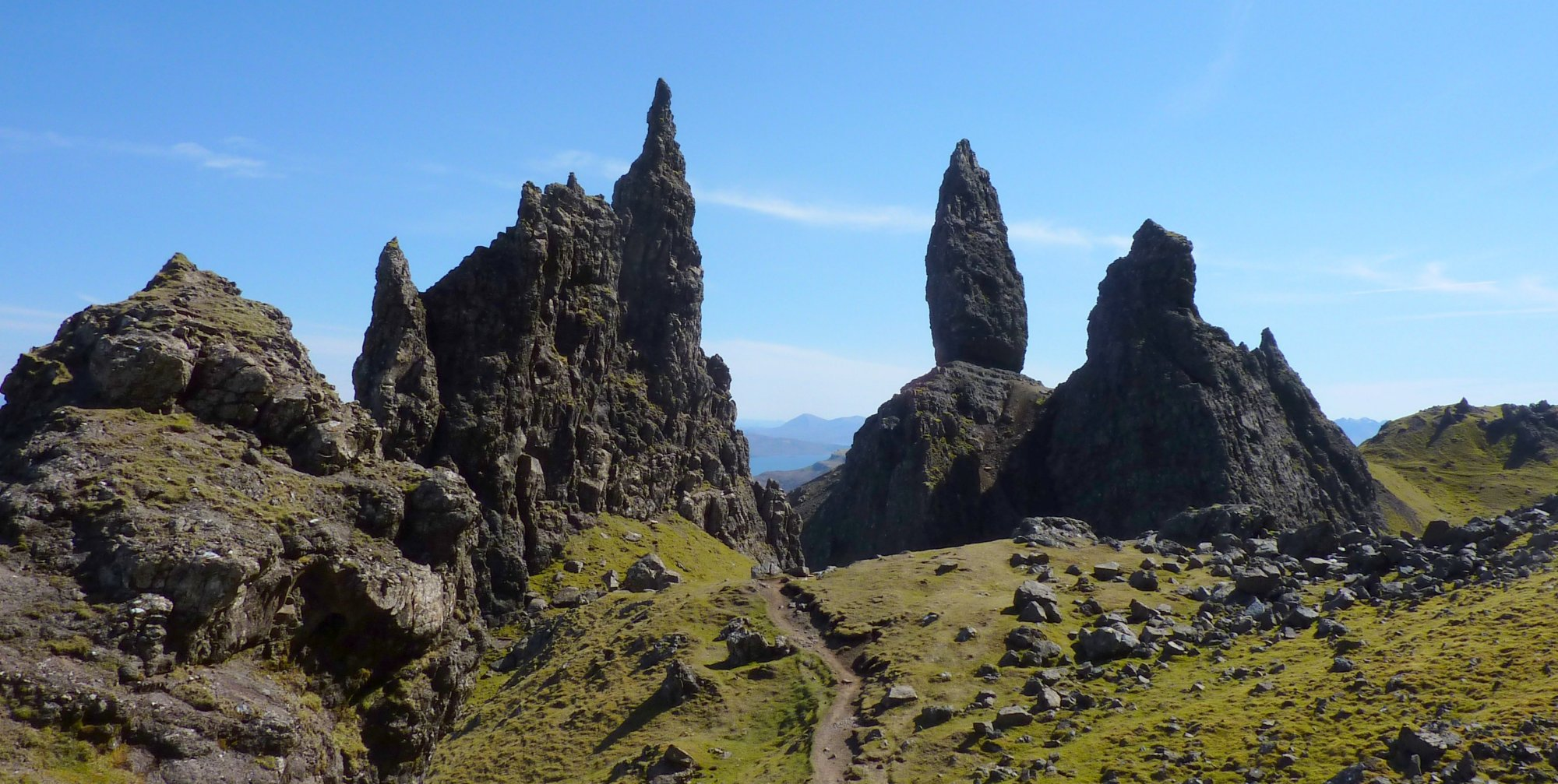 The awseome, jagged scenery around the Old Man of Storr