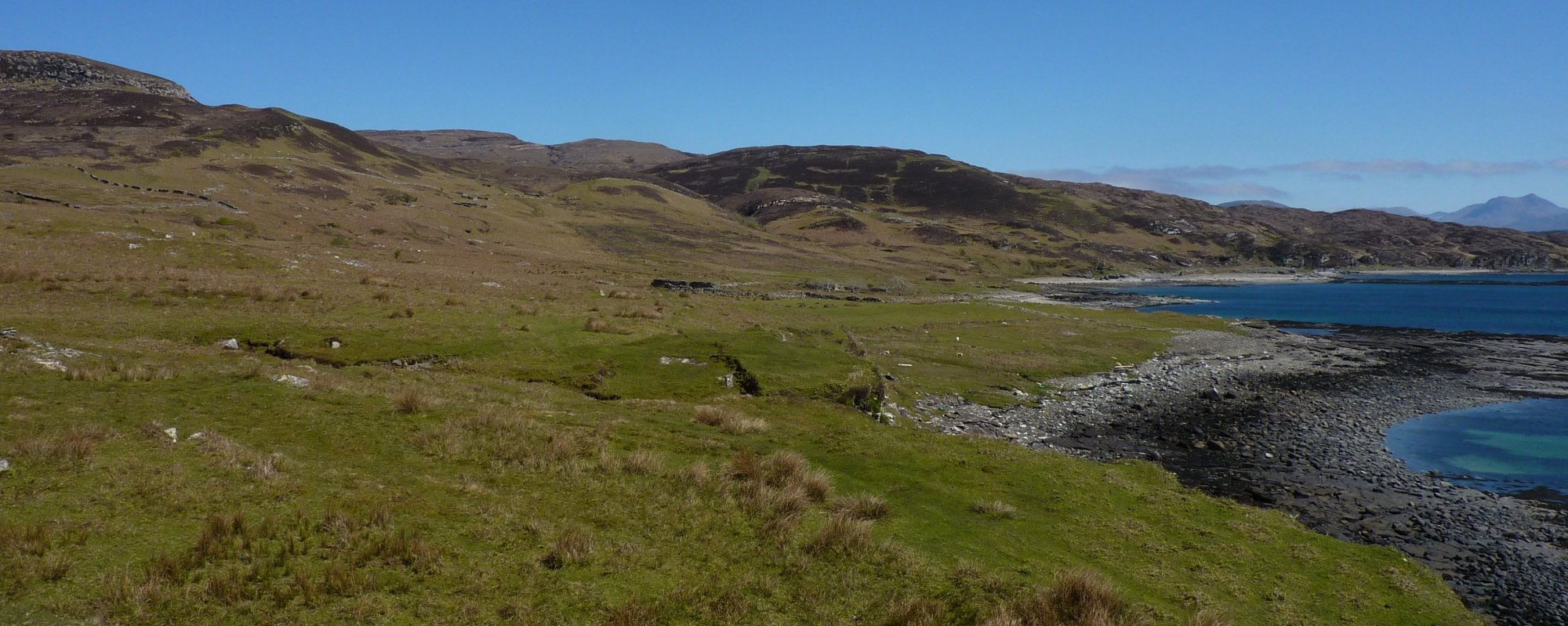 Arriving in Boreraig, lovely green and fertile pastures, allocated to sheep at the expense of several crofting families