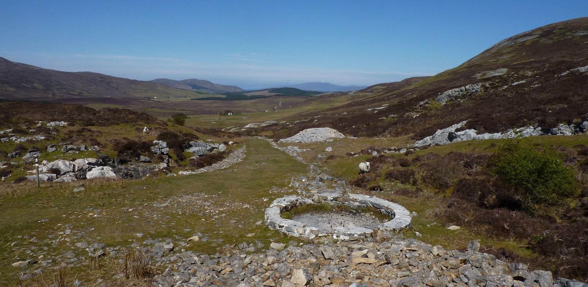 The marble workings in Strath Suardal, the circular structure is what remains of the winding gear