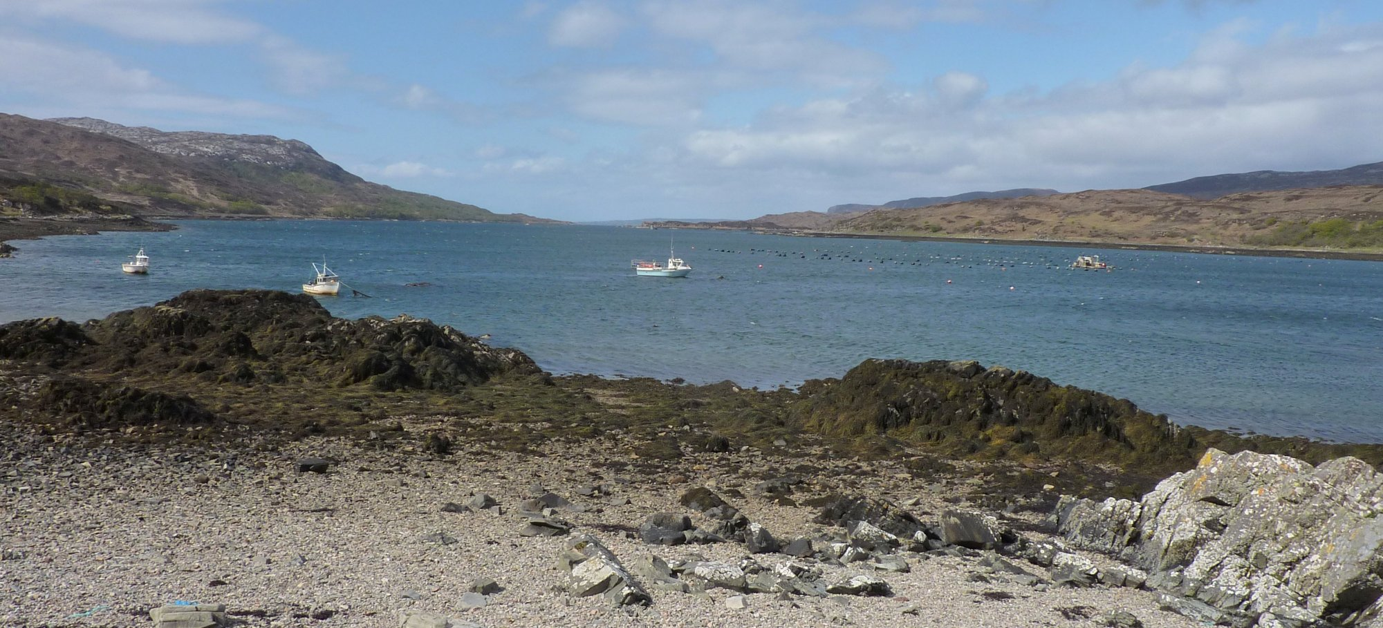 Boats tied up in Drumfearn harbour