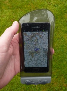 Smartphone in Aquapac case