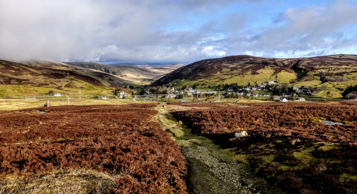 Looking back to Wanlockhead on the climb to Lowther Hill