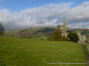 Arriving in Hawes and the church spire is a trig point!