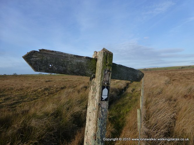 The old (ancient fingerpost) and the new (acorn marker) on the Pennine Way
