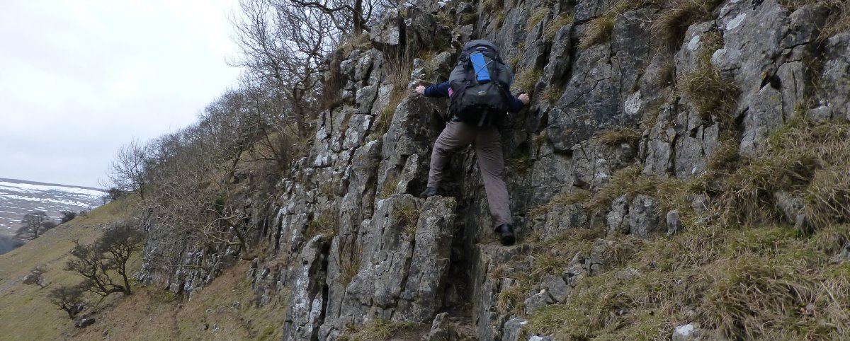 A couple of small scrambles help you gain height beside Buckden Beck