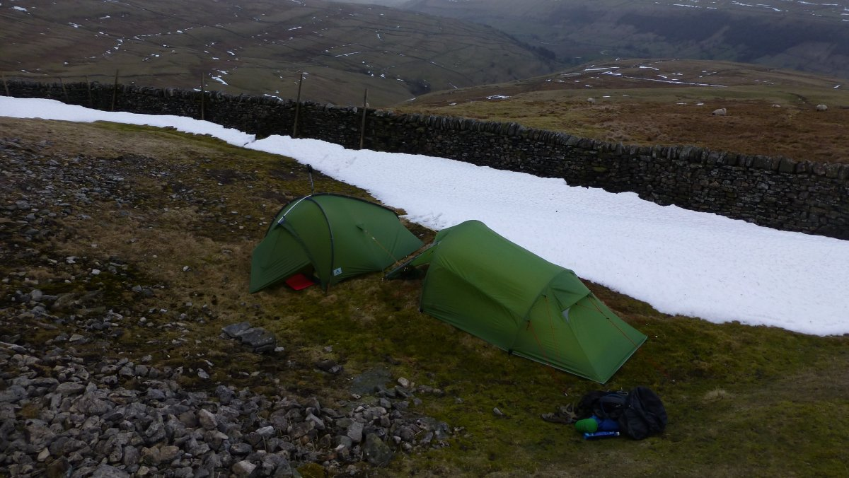 The best pitch we could find with shelter from the wind