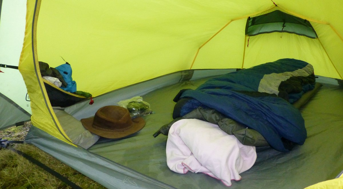 The cavernous interior of Chris's massive tent - and a punctured sleeping mat