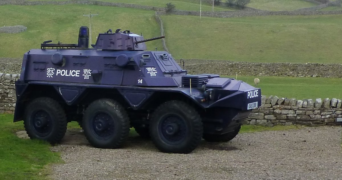 Police vehicle in Reeth