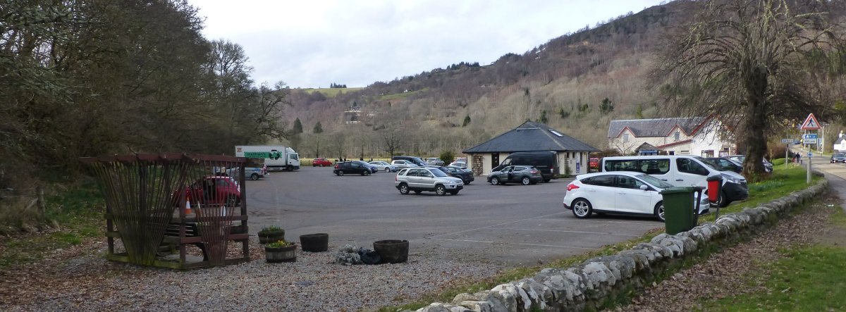 Car park in Drumnadrochit and journey's end