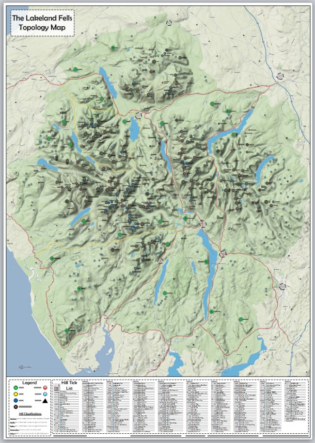 Lakeland Fells Tick List & Topology Map