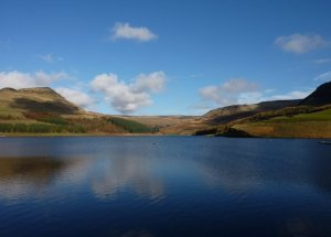 The view across Dovestone Reservoir
