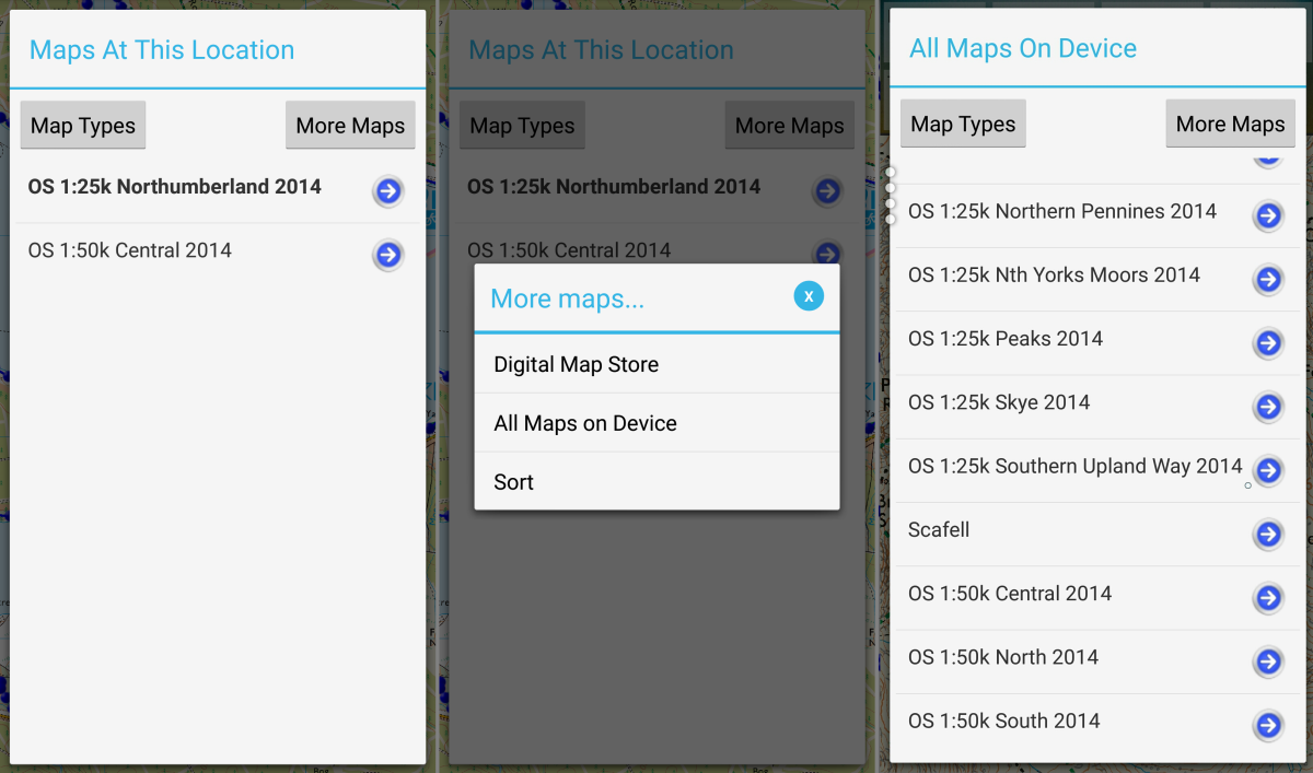Showing all the maps on the mobile device